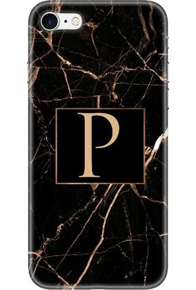 Moodcase Apple iPhone 7 Telefon Kılıfı Siyah Mermer Desen P Harfli