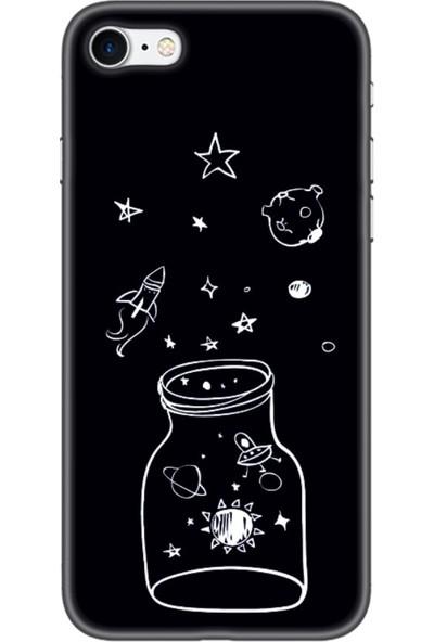 Moodcase Apple iPhone 8 Kavanoz Gezegen Desenli Telefon Kılıfı
