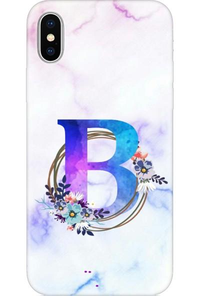 Moodcase Apple iPhone x / Xs Renkli Mermer Desen B Harfli Telefon Kılıfı