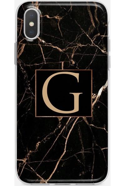 Moodcase Apple iPhone x Siyah Mermer Desen G Harfli Telefon Kılıfı