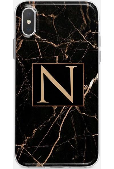 Moodcase Apple iPhone x Siyah Mermer Desen N Harfli Telefon Kılıfı