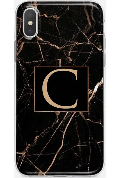 Moodcase Apple iPhone Xs Max Siyah Mermer Desen C Harfli Telefon Kılıfı