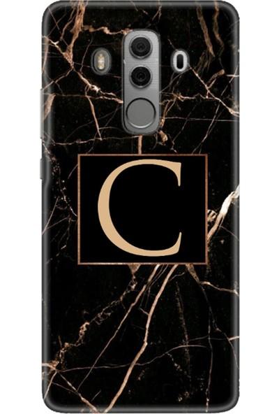 Moodcase Huawei Mate 10 Pro Siyah Mermer Desen C Harfli Telefon Kılıfı