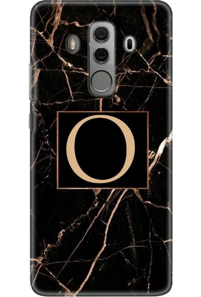 Moodcase Huawei Mate 10 Pro Siyah Mermer Desen O Harfli Telefon Kılıfı