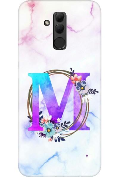 Moodcase Huawei Mate 20 Lite Renkli Mermer Desen M Harfli Telefon Kılıfı