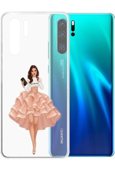 Moodcase Huawei P30 Pembe Etekli Kız Şeffaf Telefon Kılıfı