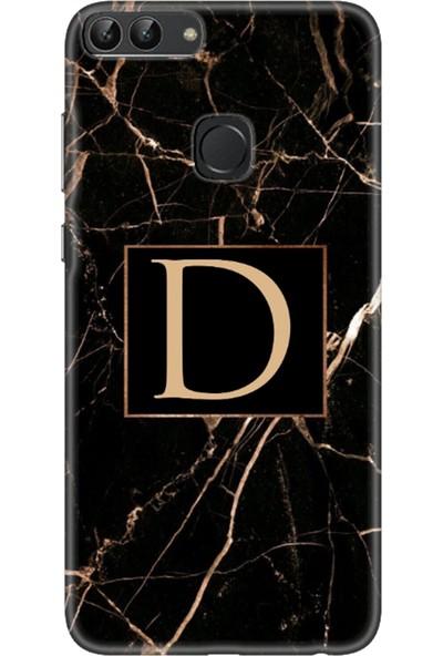 Moodcase Huawei Psmart 2018 Siyah Mermer Desen D Harfli Telefon Kılıfı