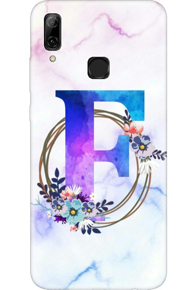 Moodcase Huawei Psmart 2019 Renkli Mermer Desen F Harfli Telefon Kılıfı