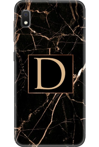 Moodcase Samsun Galaxy A10 Siyah Mermer Desen D Harfli Telefon Kılıfı