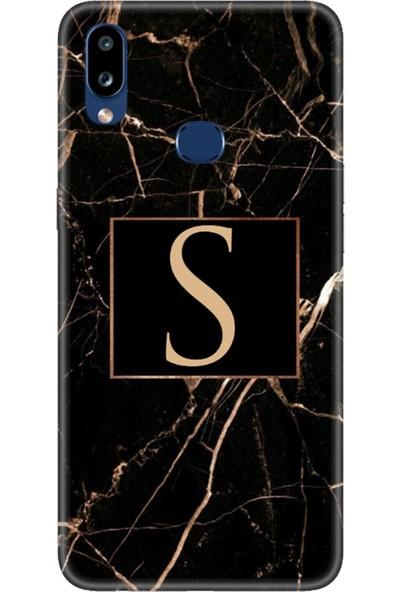 Moodcase Samsun Galaxy A10S Siyah Mermer Desen S Harfli Telefon Kılıfı