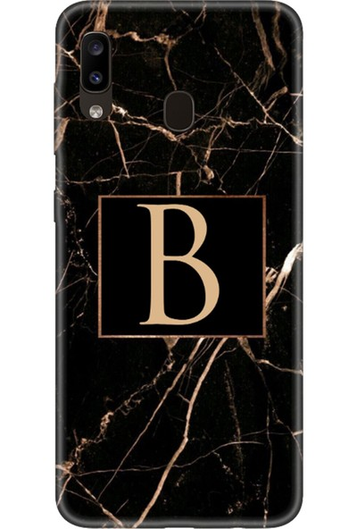 Moodcase Samsun Galaxy A30 Siyah Mermer Desen B Harfli Telefon Kılıfı