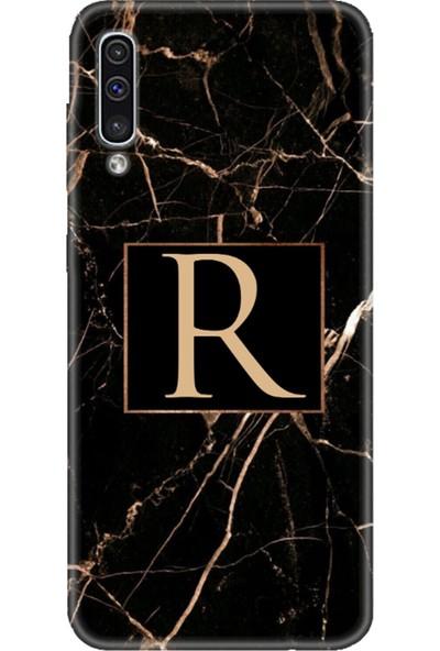 Moodcase Samsun Galaxy A50 Siyah Mermer Desen R Harfli Telefon Kılıfı