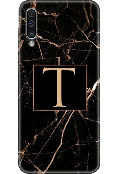 Moodcase Samsun Galaxy A50 Siyah Mermer Desen T Harfli Telefon Kılıfı