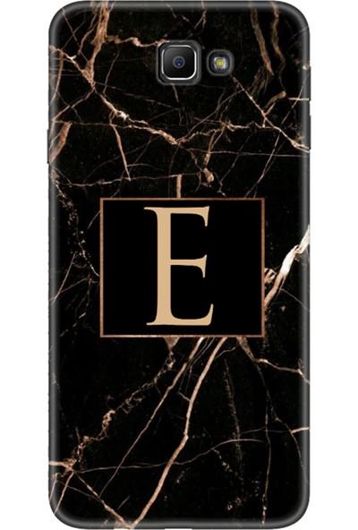 Moodcase Samsun Galaxy J7 Prime Siyah Mermer Desen E Harfli Telefon Kılıfı
