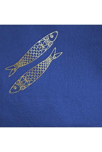 Story 33 x 33 cm Altın Varak Balıklar Desenli 16'lı Lacivert Renkli Kağıt Peçete