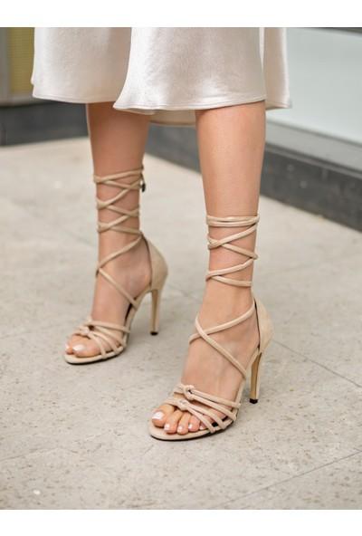 My Poppi Shoes Ten Süet Kadın Topuklu Ayakkabı La Bella