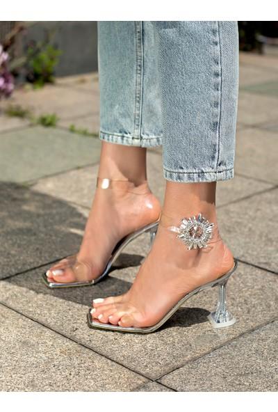 My Poppi Shoes Gümüş Şeffaf Topuklu Kadın Ayakkabı Dubai