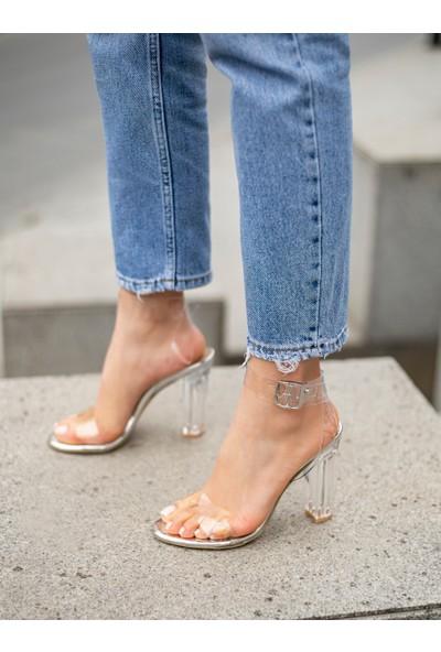 My Poppi Shoes Gümüş Şeffaf Topuklu Kadın Ayakkabı Victoria