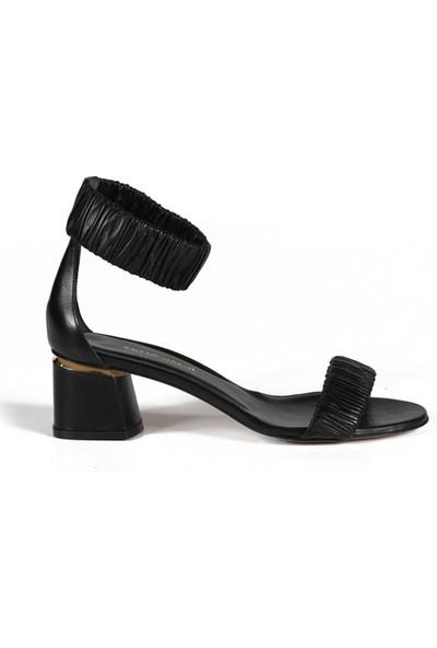 Sofia Baldi Alfreda Siyah Deri Kadın Topuklu Sandalet