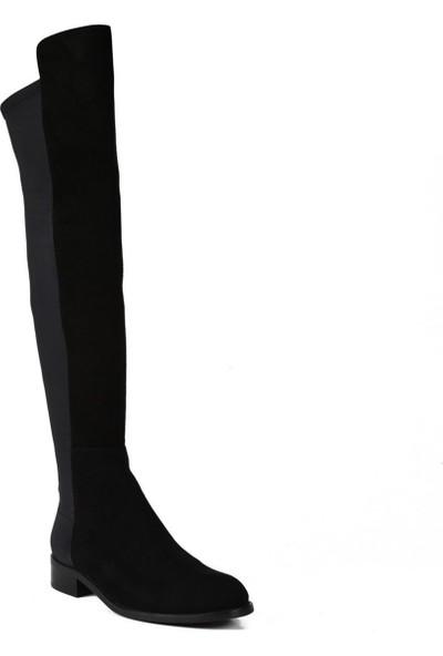 Sofia Baldi Anges Fur Siyah Süet Fermuarlı Kadın Düz Çizme