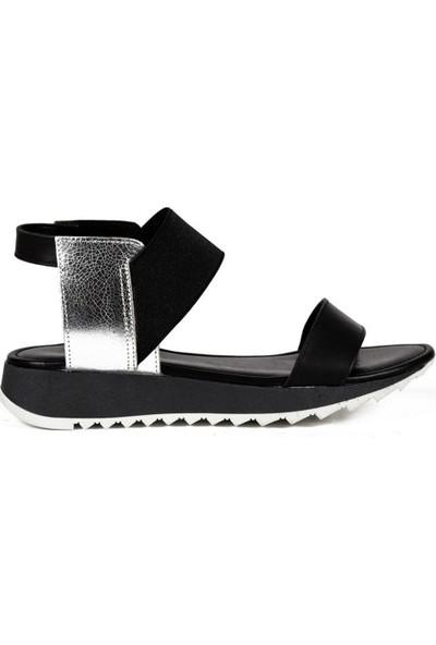 Sofia Baldi Ava Siyah/Gümüş Deri Kadın Düz Sandalet