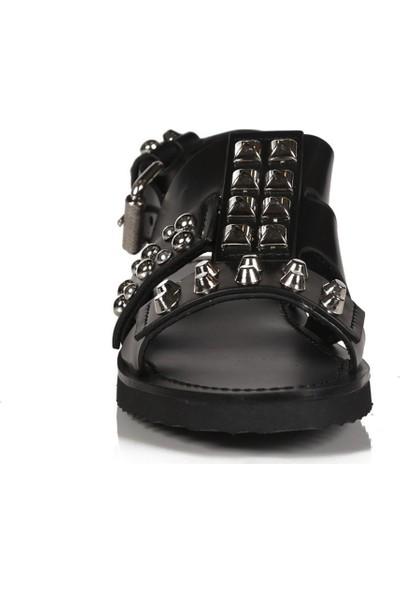 Sofia Baldi Bice Siyah Deri Pimli Kadın Düz Sandalet