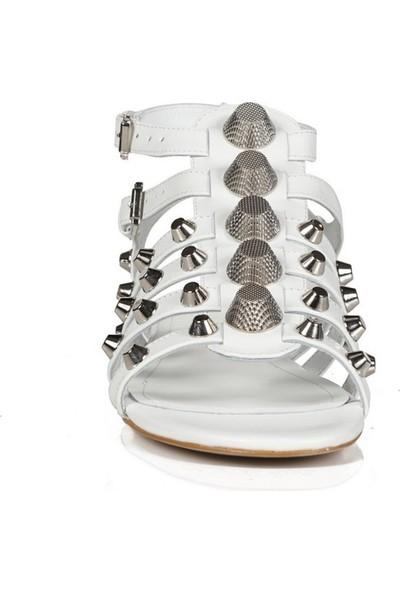 Sofia Baldi Celeste Beyaz Deri Pimli Kadın Düz Sandalet