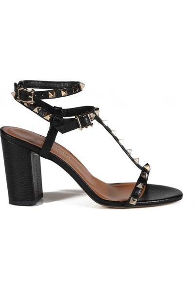 Sofia Baldi Destinee Siyah Flother Zımbalı Kadın Topuklu Sandalet