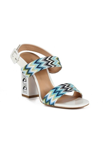 Sofia Baldi Esta Mavi / Beyaz Deri İncili Kadın Topuklu Sandalet