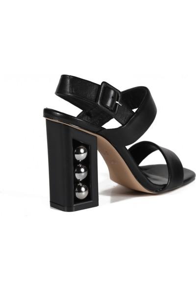 Sofia Baldi Esta Siyah Deri İncili Kadın Topuklu Sandalet