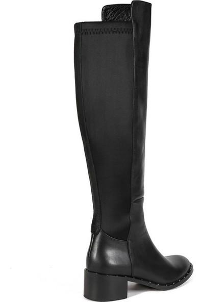 Sofia Baldi Feline Siyah Deri Kadın Topuklu Çizme