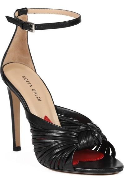 Sofia Baldi İrina Siyah Deri Kadın Topuklu Sandalet