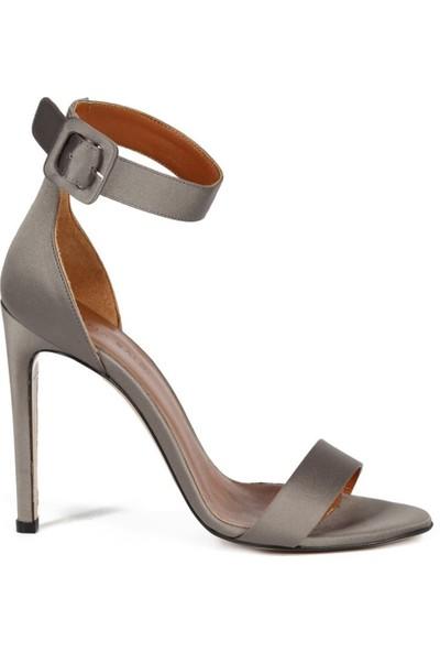 Sofia Baldi Lavinia Gri Saten Toka Kadın Topuklu Sandalet