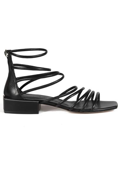 Sofia Baldi Oriana Siyah Deri Kadın Topuklu Sandalet
