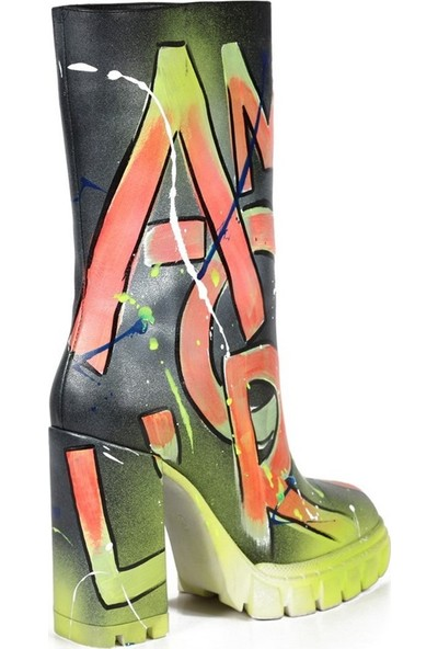 Sofia Baldi Scarpa Nays Siyah Deri Kadın Topuklu Çizme