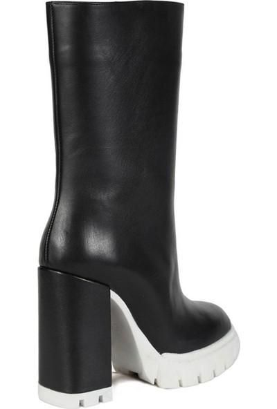 Sofia Baldi Scarpa Siyah Deri Kadın Topuklu Çizme
