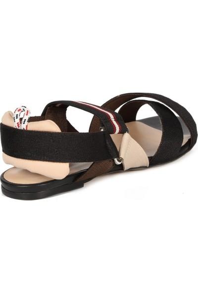 Sofia Baldi Semanta 2 Siyah Kumaş Kadın Düz Sandalet