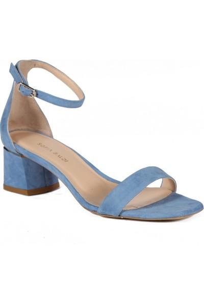 Sofia Baldi Victorina Mavi Süet Kadın Topuklu Sandalet