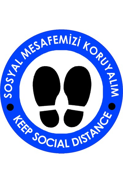 Weppe Sticker Sosyal Mesafe Zemin Uyarı 20 x 20 cm Mavi Türkçe-İngilizce Etiket Sticker C13-20