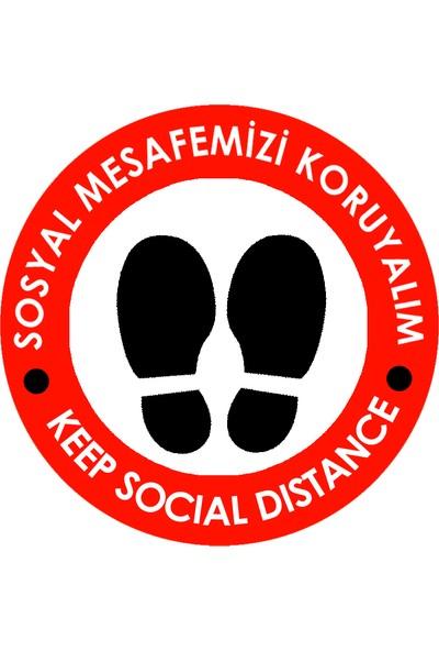 Weppe Sticker Sosyal Mesafe Zemin Uyarı 30 x 30 cm Kırmızı Türkçe-İngilizce Etiket Sticker C11-30