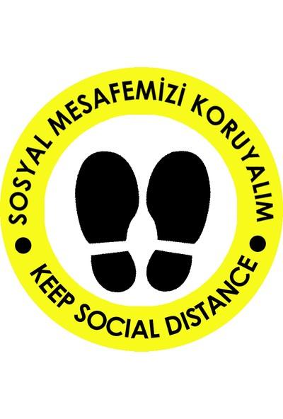 Weppe Sticker Sosyal Mesafe Zemin Uyarı 30 x 30 cm Sarı Türkçe-İngilizce Etiket Sticker C19-30