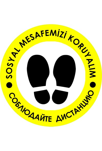 Weppe Sticker Sosyal Mesafe Zemin Uyarı 20 x 20 cm Sarı Türkçe-Rusça Etiket Sticker C39-20