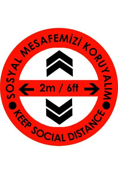 Weppe Sticker Sosyal Mesafe Zemin Uyarı 20 x 20 cm Kırmızı Türkçe-İngilizce Ok İşaretli Etiket Sticker C42-20