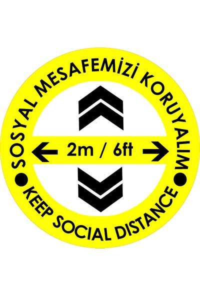 Weppe Sticker Sosyal Mesafe Zemin Uyarı 30 x 30 cm Sarı Türkçe-İngilizce Ok İşaretli Etiket Sticker C43-30