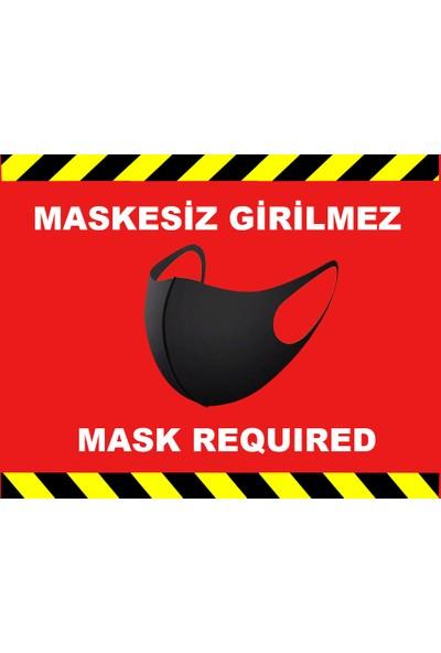 Weppe Sticker Sosyal Mesafe Maske Uyarı 15 x 20 cm Kırmızı Türkçe-İngilizce Etiket Sticker C1-15