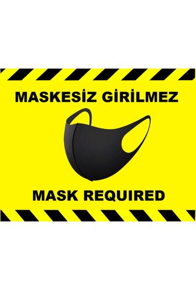 Weppe Sticker Sosyal Mesafe Maske Uyarı 15 x 20 cm Sarı Türkçe-İngilizce Etiket Sticker C4-15
