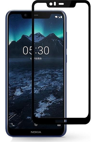 Case Street Nokia 5.1 Plus Esnek Full Kapatan Fiber Nano Ekran Koruma Siyah