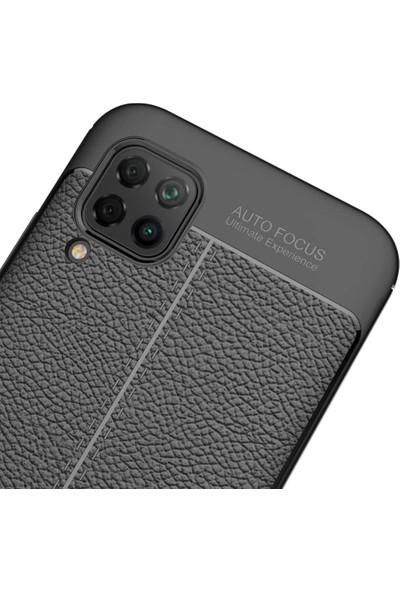 Tbkcase Huawei P40 Lite Kılıf Deri Dokulu Silikon Siyah