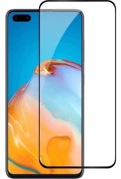 Tbkcase Huawei P40 Pro Tam Kapatan Ekran Koruyucu Siyah + Kamera Lens Koruyucu Metal
