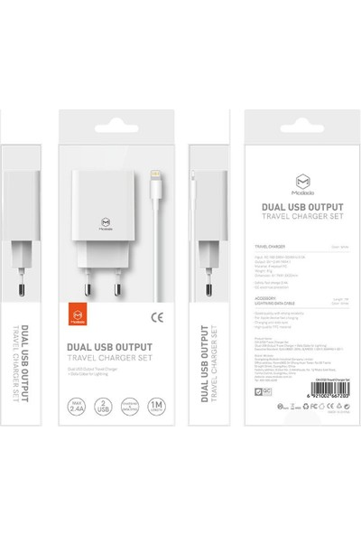 Mcdodo CH-662 2 USB Girişli Adaptör + Lightning Şarj ve Data Kablo 1 mt